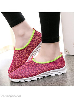 Geometric Flat Round Toe Casual Sport Sneakers