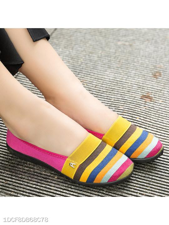 Striped Flat Round Toe Casual Comfort Flats