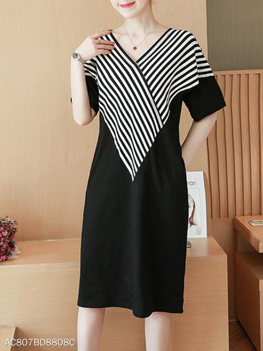 V Neck Patch Pocket Striped Shift Dress