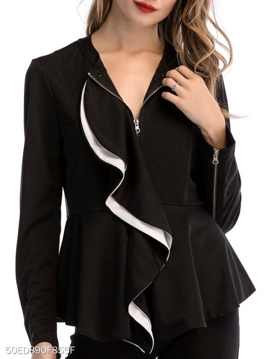 Round Neck Flounce Color Block Plain Long Sleeve Blazers