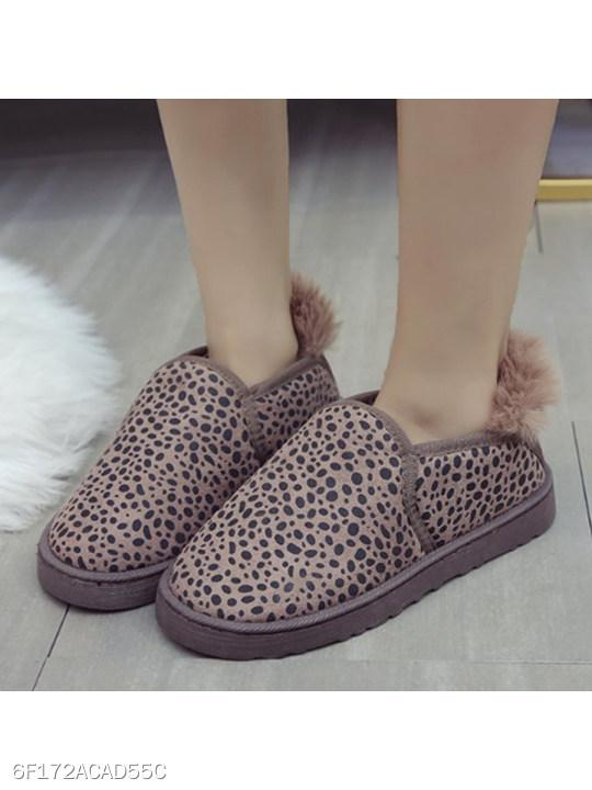 Animal Printed Flat Round Toe Casual Ankle Flat Boots