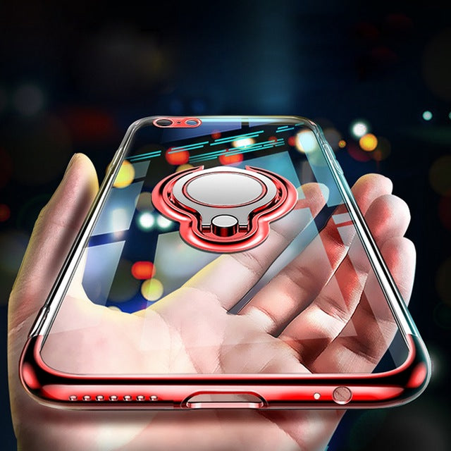Ring Stand Holder Magnetic Phone Case For iPhone X Transparent Soft TPU Back Cover - Bevsu