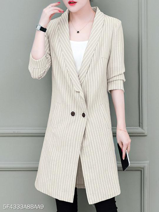 Shawl Collar Vertical Striped Blazer