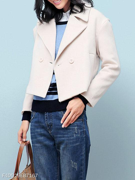 Notch Lapel Plain Coat