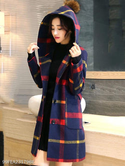 Hooded Patch Pocket Single Breasted Plaid Coats