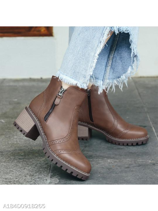 Plain Chunky High Heeled Round Toe Date Outdoor Short High Heels Boots