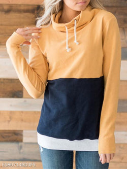 High Neck Patchwork Color Block Hoodie