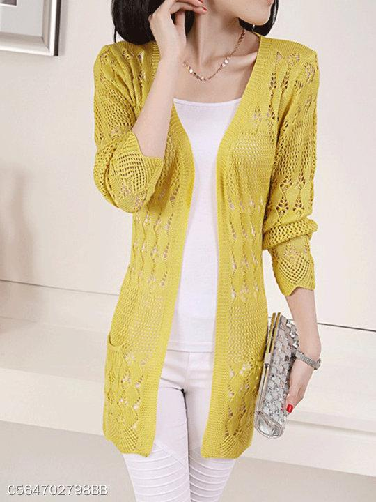 V Neck Cutout Plain Cardigans