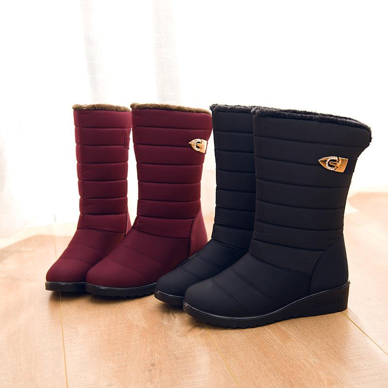 Waterproof Snow Boots Winter Shoes Plush Insole Botas
