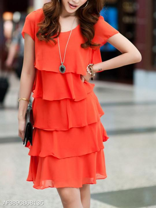 Tiered Plain Shift Dress
