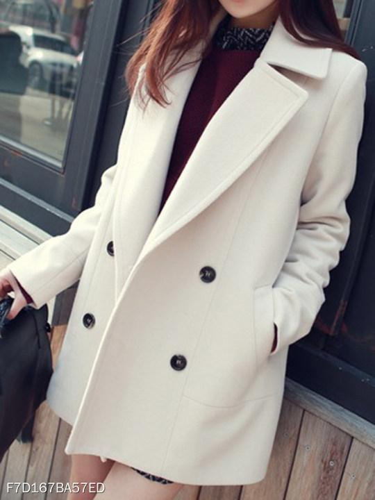 Notch Lapel Double Breasted Plain Coat
