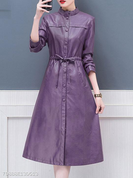 Band Collar Drawstring Plain Coat