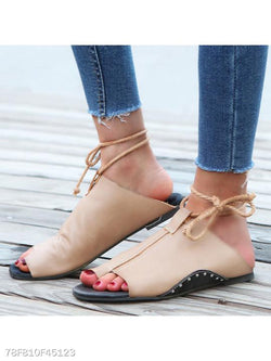 Plain Flat Criss Cross Peep Toe Casual Sandals