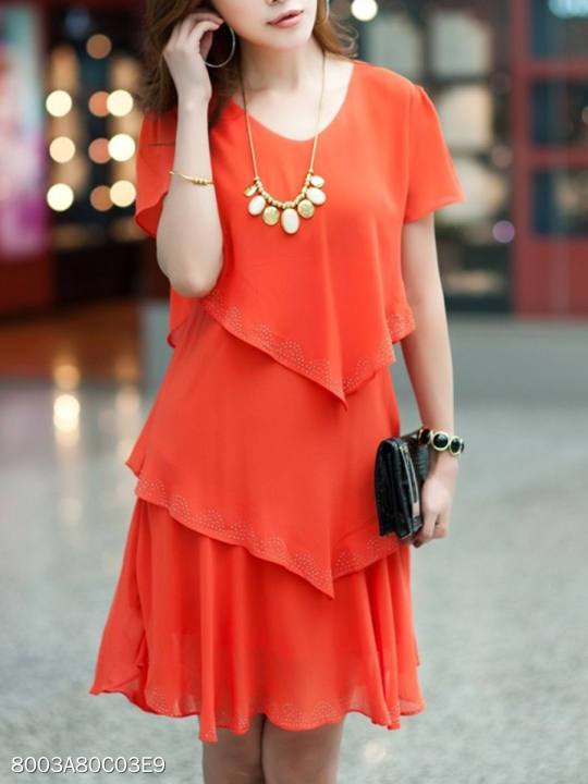 V-Neck Tiered Plain Chiffon Shift Dress