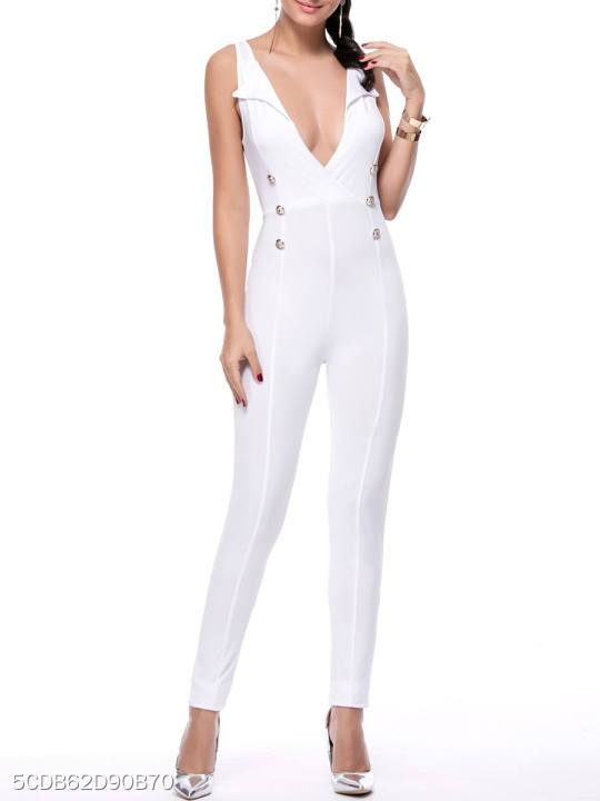 Hot Deep V-Neck Decorative Button Solid Slim-Leg Jumpsuit