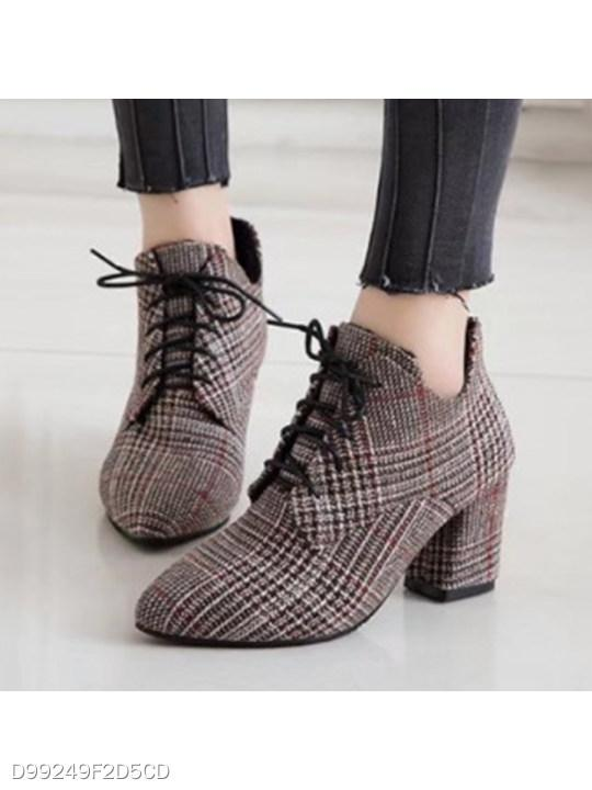 Chunky High Heeled Criss Cross Point Toe Date Office Ankle High Heels Boots