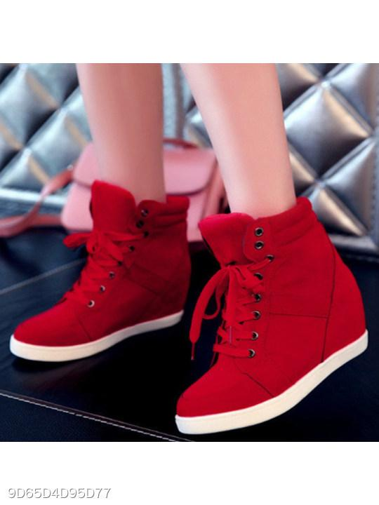 Plain Invisible High Heeled Velvet Criss Cross Round Toe Casual Sport Sneakers