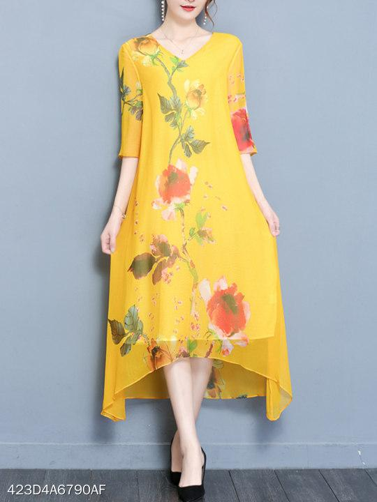 V-Neck Floral Printed Asymmetric Hem Maxi Dress
