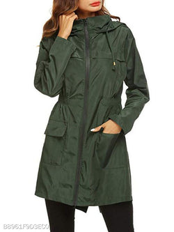 Hooded Plain Trench Coat