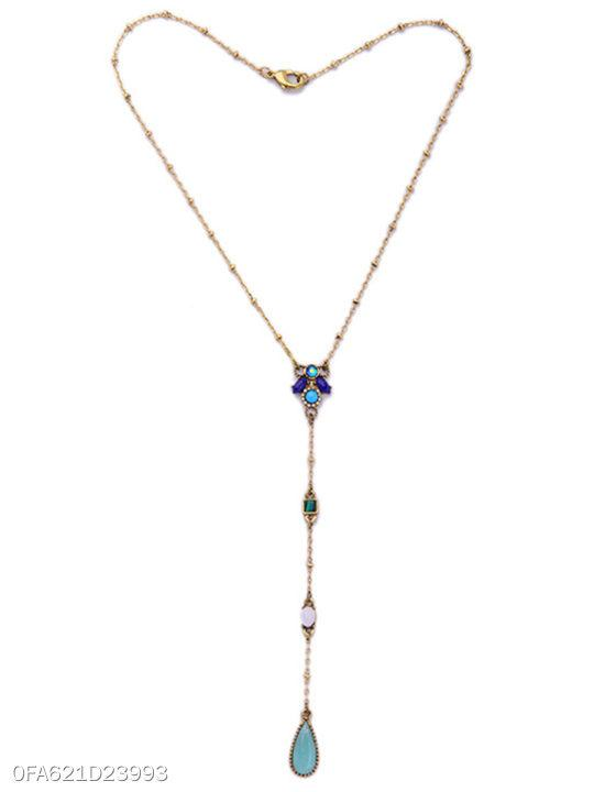 Imitation Stone Long Pendant Necklace
