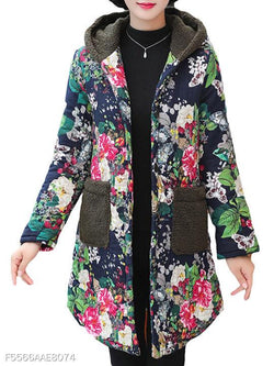 Hooded Floral Printed Coat