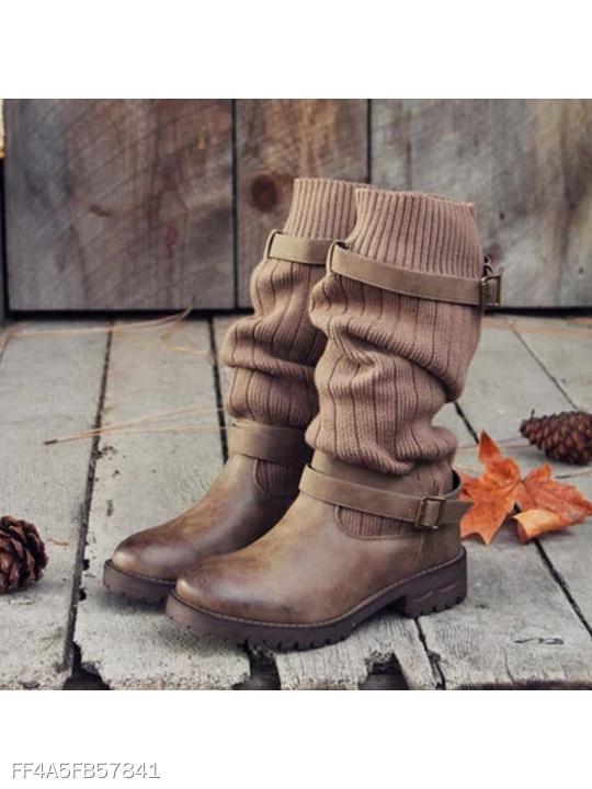 Plain Woolen Round Toe Casual Outdoor Mid Calf Flat Boots