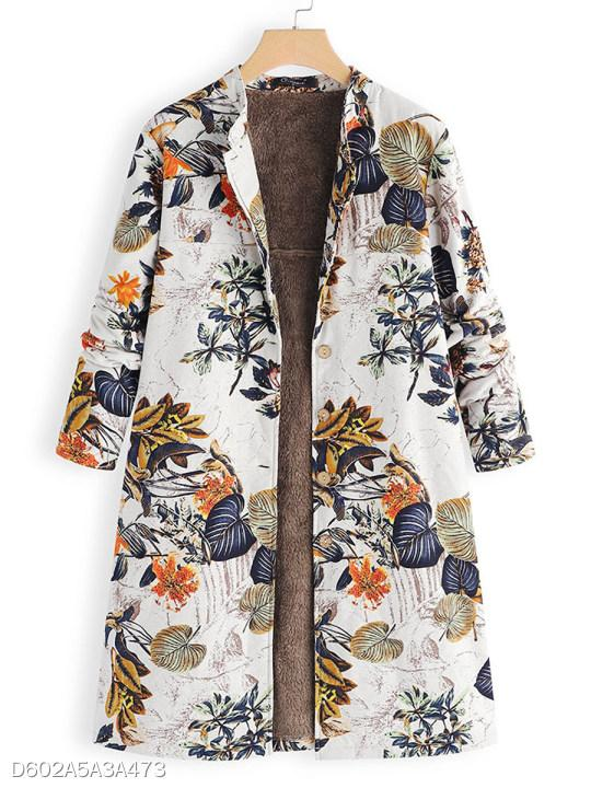 Band Collar Single Breasted Floral Printed Coat