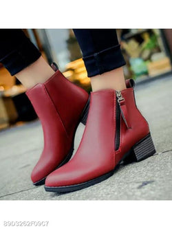Plain Chunky High Heeled Point Toe Date Outdoor Short High Heels Boots
