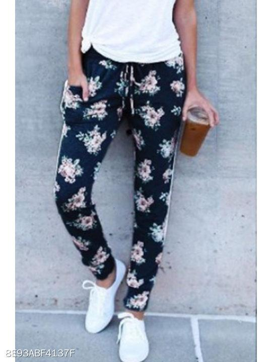 Belt Floral Printed Pants