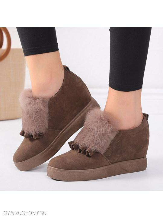Plain Velvet Round Toe Date Outdoor Short Ankle Boots