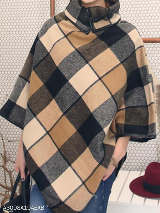 Turtleneck Plaid Woolen Cape Sleeve Coat