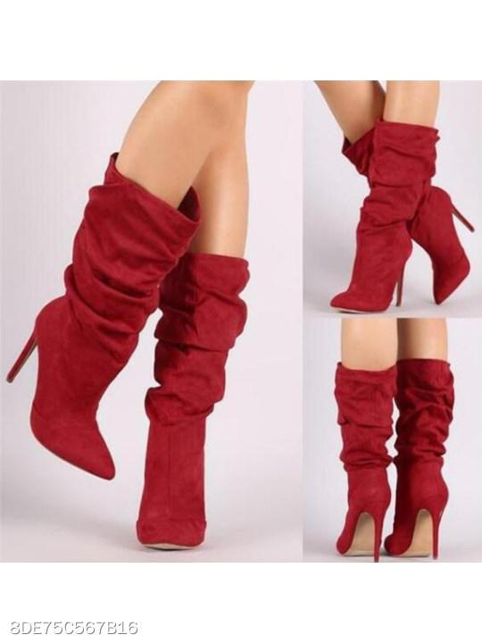 Plain Stiletto High Heeled Velvet Point Toe Date Outdoor Mid Calf High Heels Boots