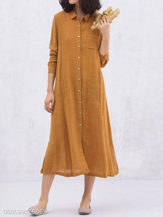 Turn Down Collar Patch Pocket Plain Maxi Dress