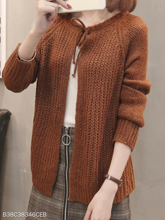 Round Neck Lace Up Plain Knit Cardigans