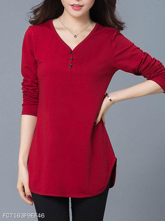 V-Neck Plain Blouse