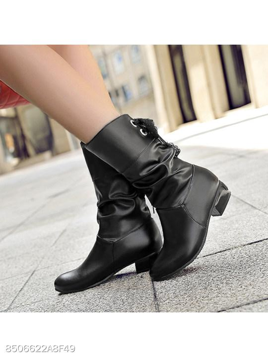Plain Low Heeled Round Toe Date Outdoor Mid Calf Flat Boots