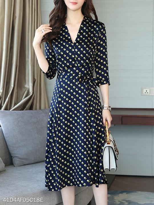 V Neck Polka Dot Maxi Dress