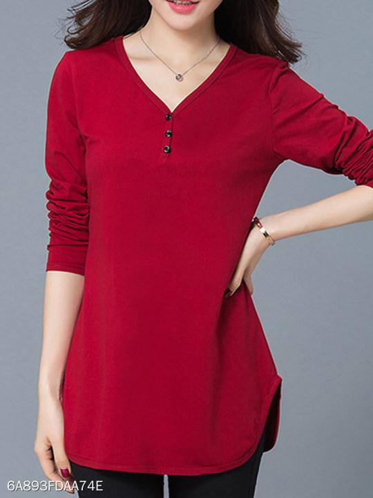V Neck Side Slit Plain Long Sleeve T-Shirts