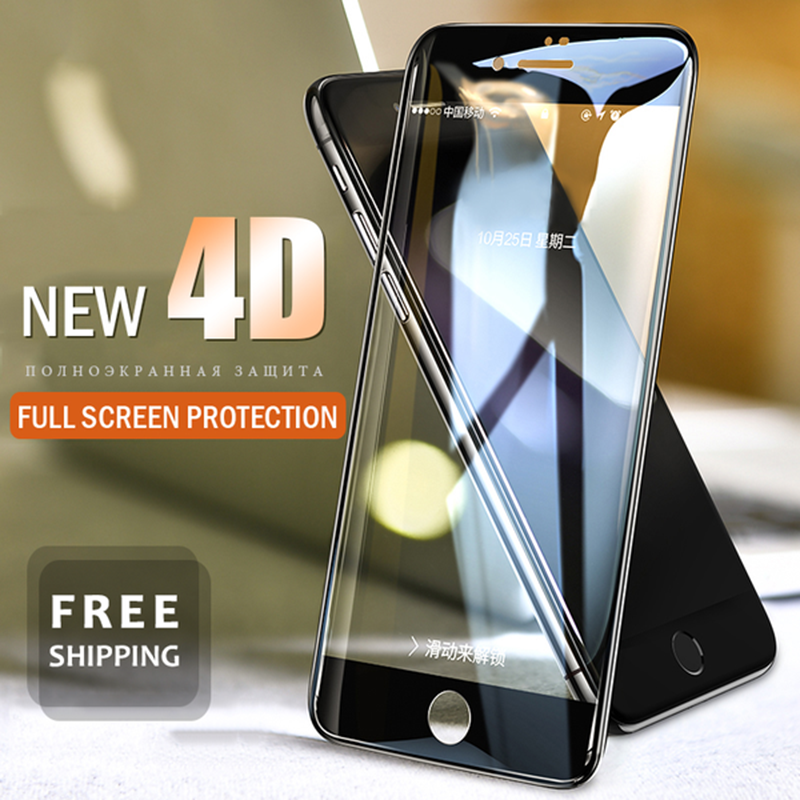 4D Full Cover Protective Tempered Glass For iPhone X 6s 7 8 Plus - bevsu