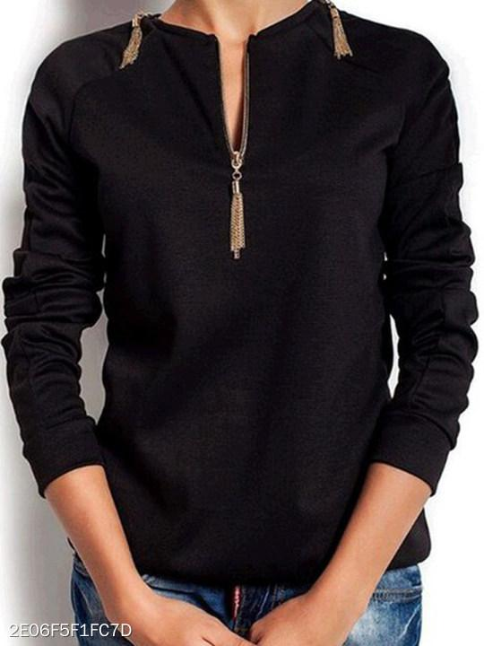 V Neck Zipper Plain Long Sleeve T-Shirts