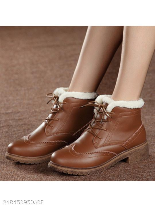 Plain Round Toe Outdoor Short Flat Boots