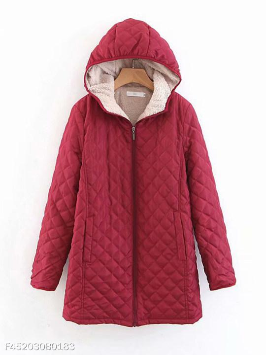 Hooded Quilted Plain Coat