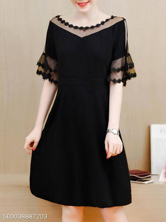 See-Through Plain Layered Bell Sleeve Skater Dress In Black