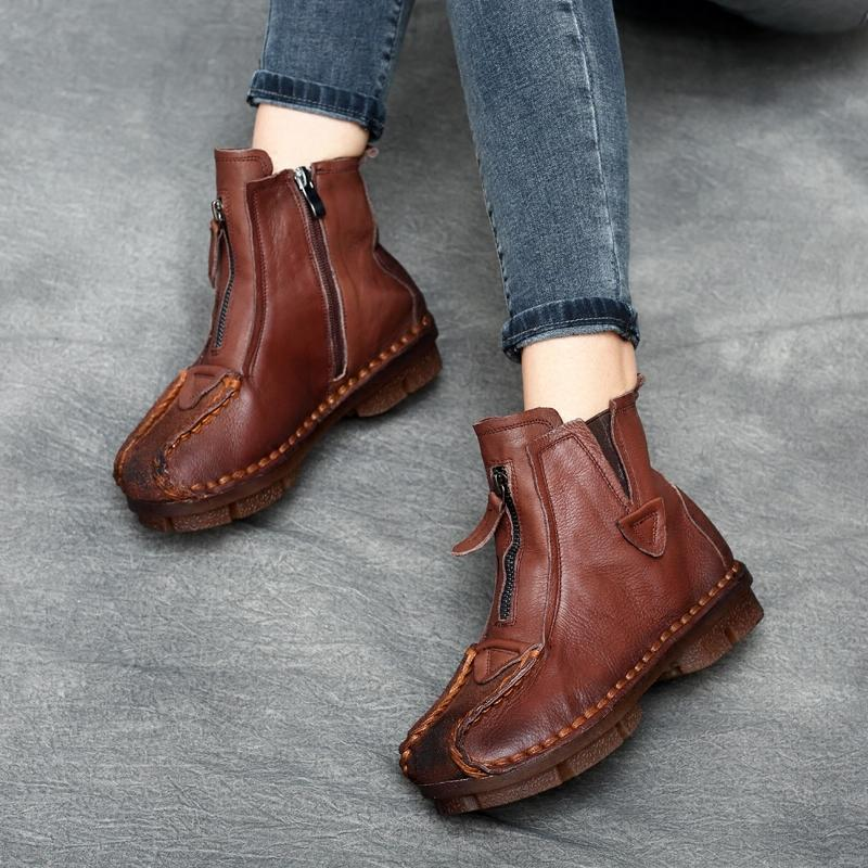 Boots - 2017 Autumn Women Low Heel Handmade Genuine Leather Ankle Boots - Bevsu