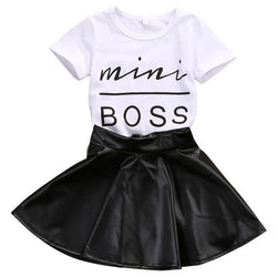 Baby Clothing - Short Sleeve Mini Boss T shirt Tops+Leather Skirt 2PCS Outfit Child Suit - Bevsu
