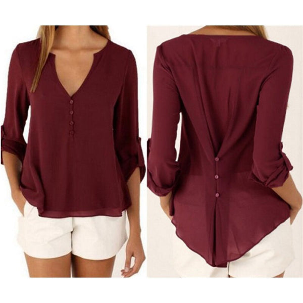 Casual chiffon V-neck shirt