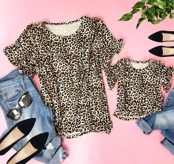 Parent-child leopard t-shirt