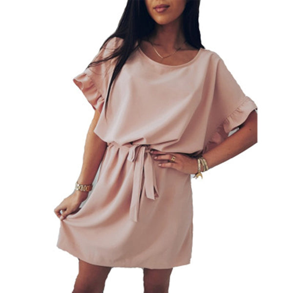 Bat sleeve ruffled dress