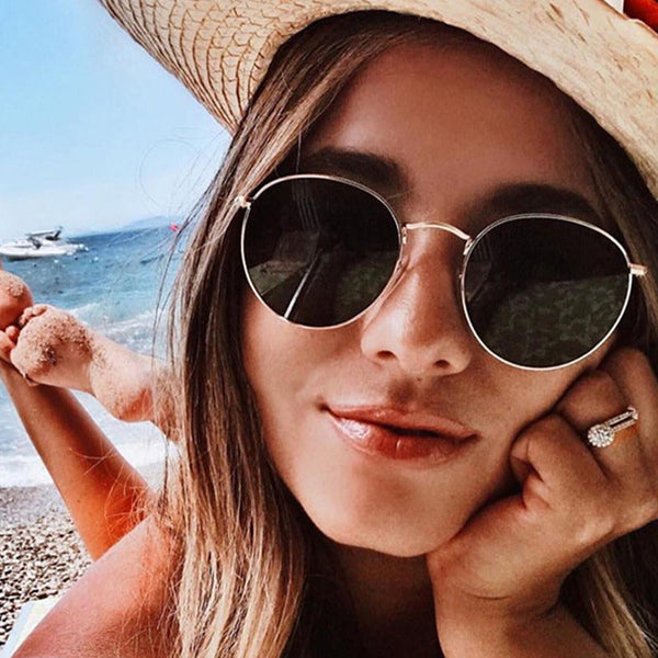 2019 Men Women Vintage Oval Small Metal Frame Sunglasses