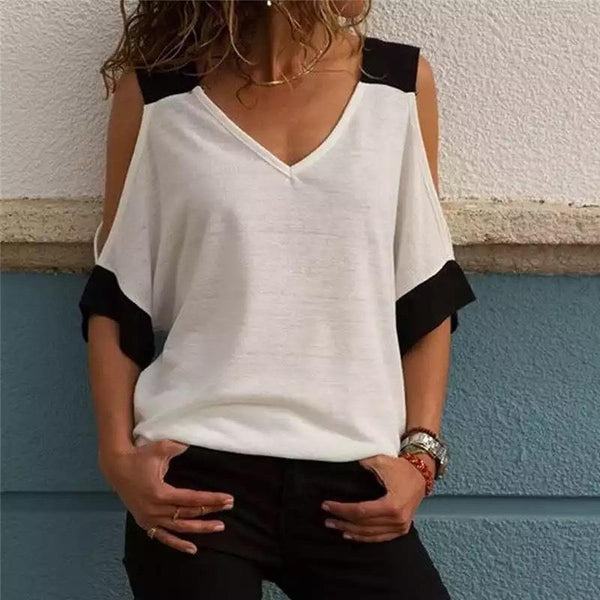 Patchwork cool shoulder T-shirt